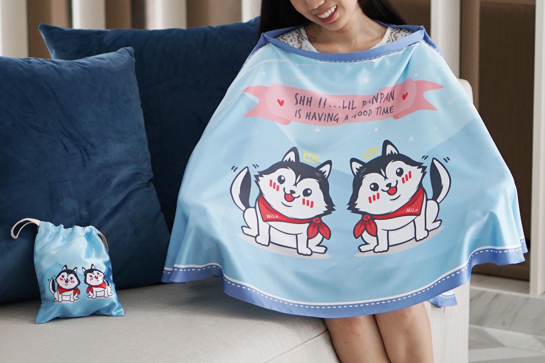 ผ้าคลุมให้นม สั่งทำใส่ชือ ลาย Siberian Husky - Blue