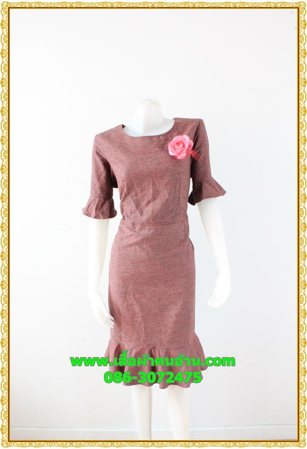 2905เสื้อผ้าคนอ้วน ชุดแซกทำงาสีเลือดหมูคอเหลี่ยมปลายแขนและชายระบายสไตล์เรียบง่าย คลาสสิค