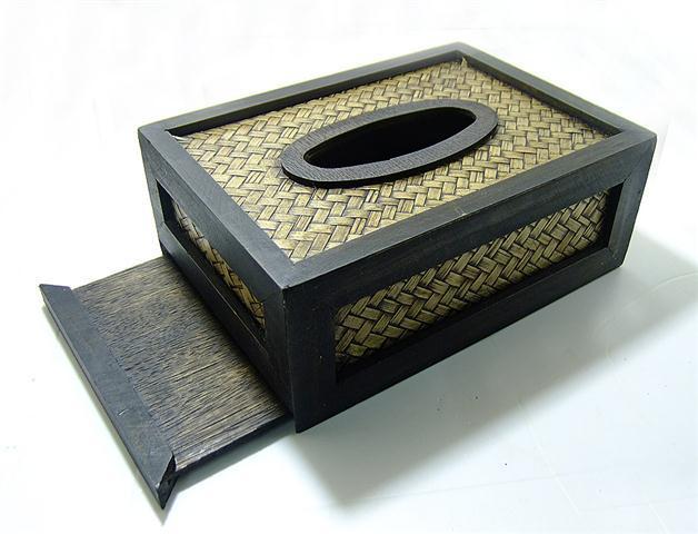 กล่องทิชชู งานไม้สัก ลายไผ่สาน