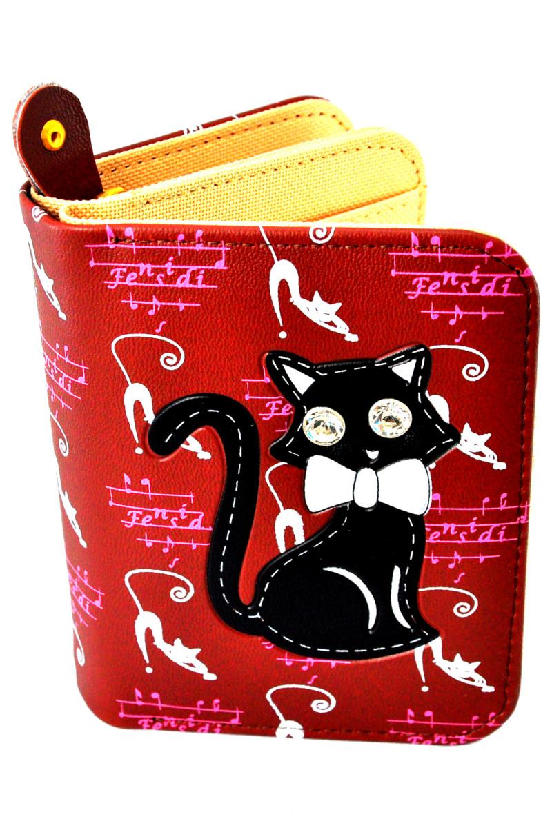 กระเป๋าสตางค์ สีน้ำตาล ลายแมวดำ น่ารัก ไม่เหมือนใคร