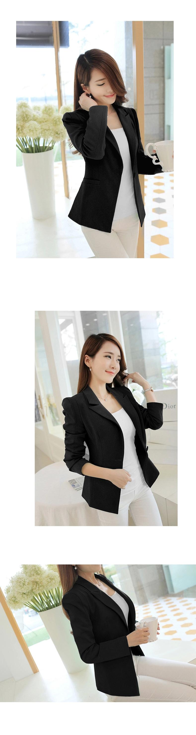 เสื้อสูทใส่ทำงานสีดำ แขนยาว สไตล์เรียบหรู เนื้อผ้าหนากำลังดี เย็บซับผ้าไนล่อนด้านในเสื้อ กระดุมกลมสีดำ กระเป๋าสองข้างลึกใส่โทรศัพท์ได้ด้วยจ้า