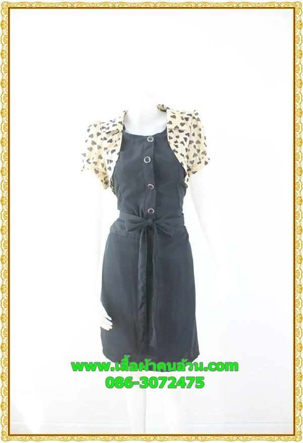2863เสื้อผ้าคนอ้วน เสื้อผ้าแฟชั่นคอกลมแต่งกั๊กคลุมลายหัวใจแขนตุ๊กตาสไตล์เกาหลีสวมใส่ทำงานน่ารักสะดุดตารับปี59