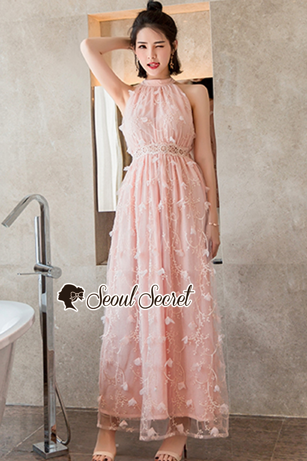 Seoul Secret Say's... Sakura Pink Netty Maxi Dress