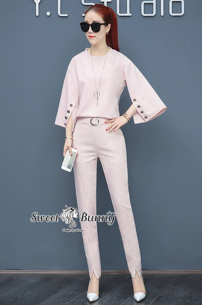 Frill-Crape Shirt With Pants Set สีชมพู