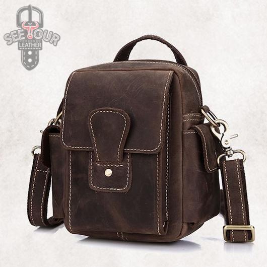 GT-1688 R กระเป๋าหนังนูบัค คาดเข็มขัด-สะพายข้าง สีน้ำตาล