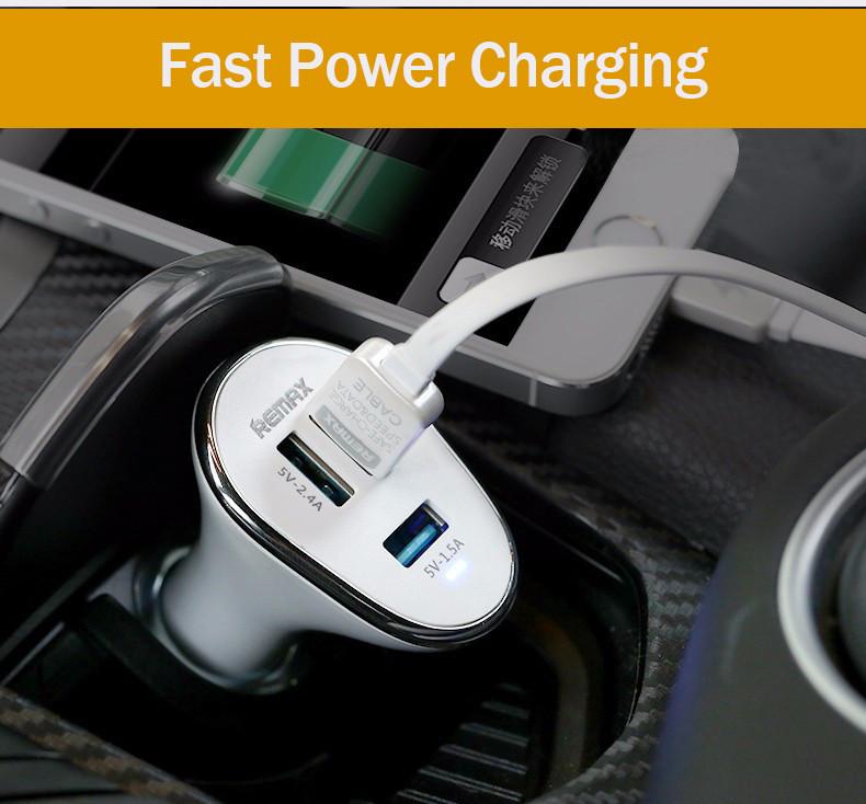 ที่ชาร์จแบตในรถยนต์ Remax Car Charger 3 USB RM-C3U ราคาถูก จ่ายไฟออกได้ถึง 3 ช่อง ชาร์จเร็วกว่าปกติ 1 เท่า จ่ายไฟรวม 6.3A มีระบบตัดไฟอัติโนมัติและป้องกันไฟลัดวงจร พื้นผิวเคลือบพิเศษป้องกันไฟรั่วและไฟดูด มี 2 สี (ขาว,ดำ)