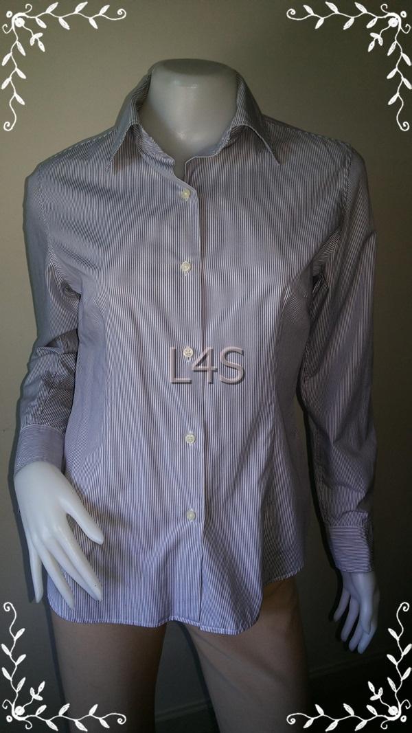 BN3818--เสื้อผ้ามือสอง--เสื้อเชิ้ต ลายทาง แบรนด์เนม UNIQLO อก 36 นิ้ว