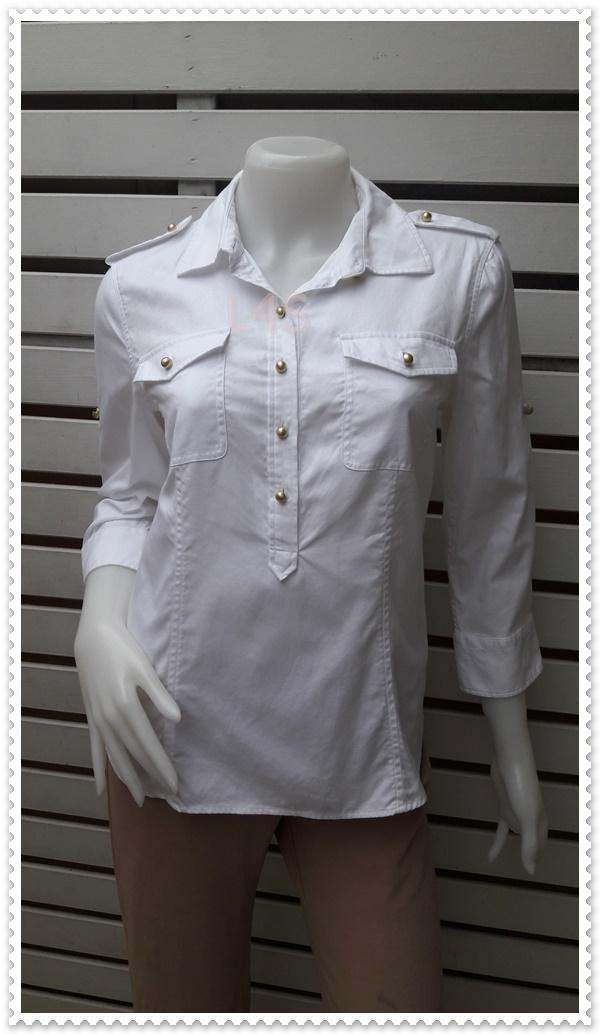 เสื้อเชิ้ต แฟชั่น นำเข้า สีขาว TALBOTS อก 37-38 นิ้ว