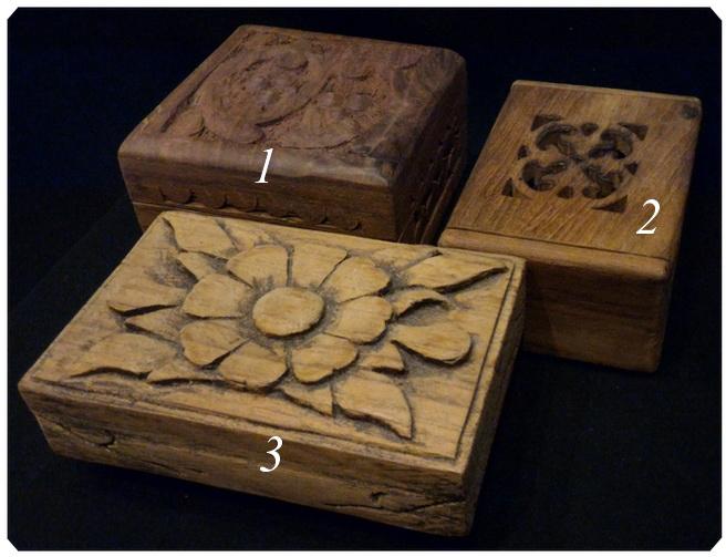 กล่องไม้แกะสลัก ราคารวม3ใบ