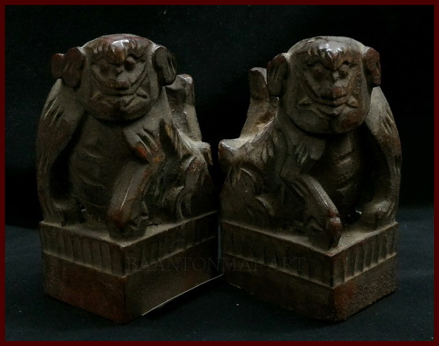 สิงห์ฟูด็อกจีนไม้แกะ คู่เล็ก สูง 9 cm.คู่ละ