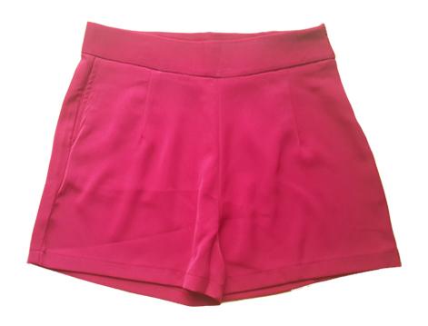 กางเกงขาสั้นเอวสูงผ้าฮานาโกะ สีเลือดหมู กระเป๋าขวา ซิปซ้าย Size S M L XL