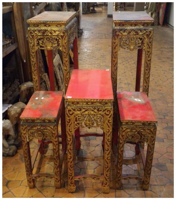 โต๊ะหมู่บูชาลายไทย ไม้สัก งานเก่า 5ตัว