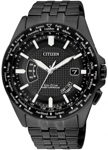 นาฬิกาข้อมือผู้ชาย Citizen Eco-Drive รุ่น CB0028-58E, Promaster Air Global Radio Controlled Black IP Pilots