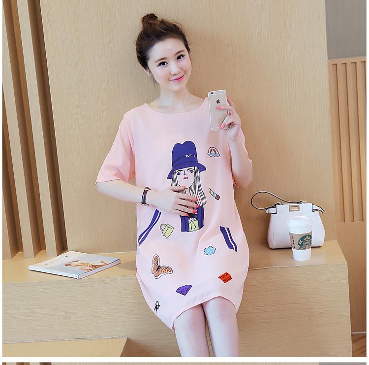 เดรสคลุมท้อง ผ้าชีฟอง พิมพ์ลายน่ารัก มีซับในทั้งตัว ช่วงแขนโชว์ลายผ้า สีชมพู M,L,XL,XXL
