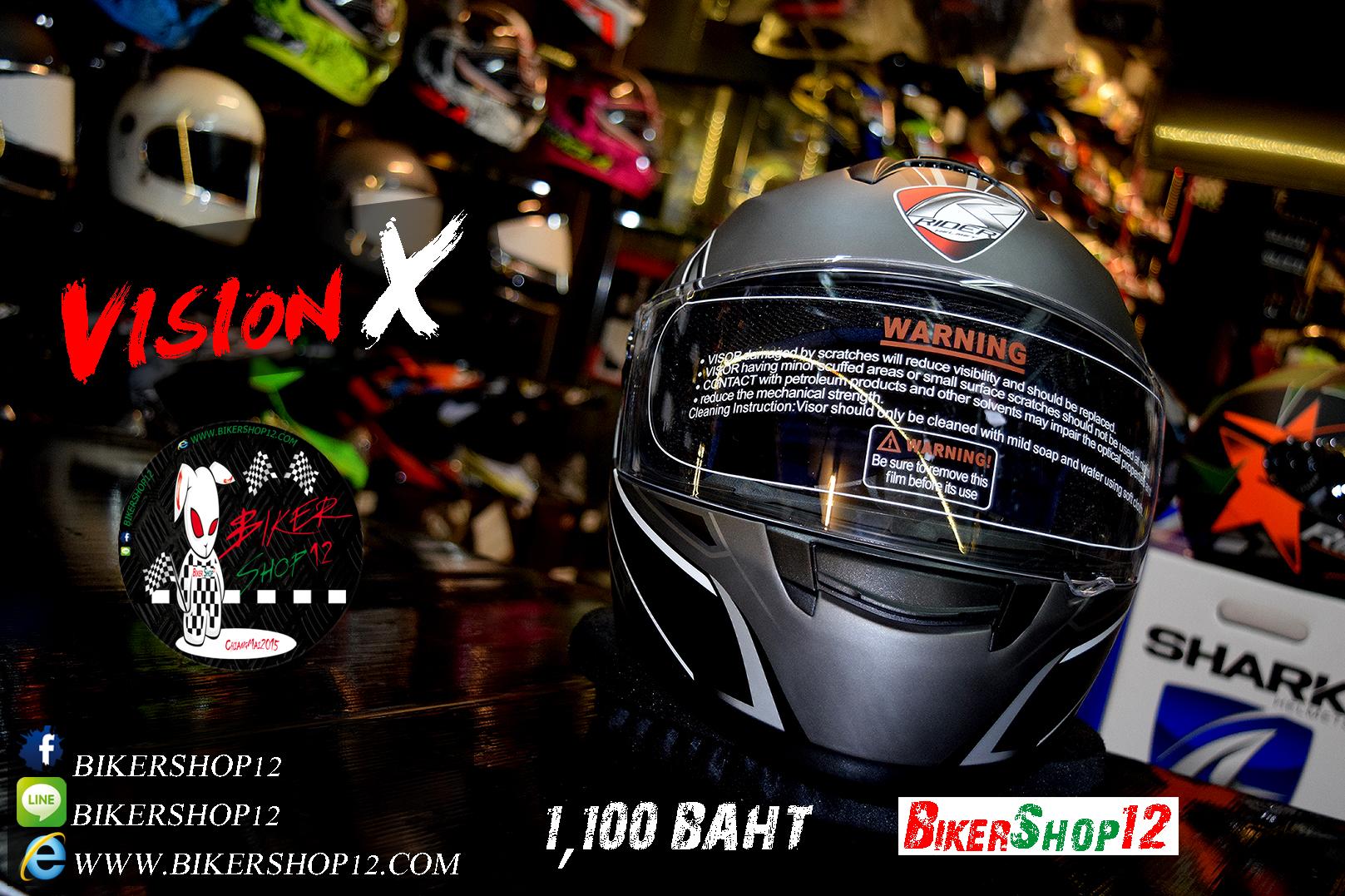 หมวกกันน็อคRider รุ่น Vision X สี Dot Black White สำเนา