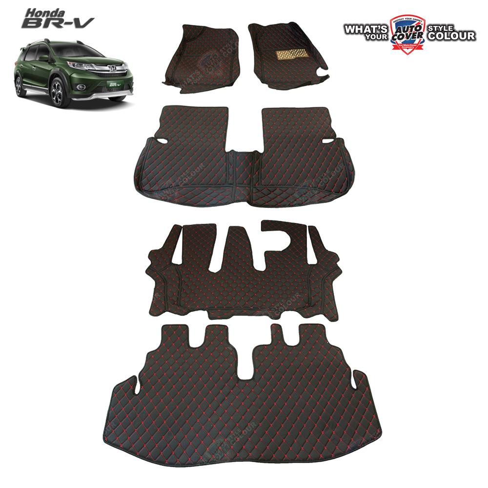 พรมรถยนต์เข้ารูป 6 D Leather Car Mat HONDA BRV รุ่น 7 ที่นั่ง จำนวน 5 ชิ้น