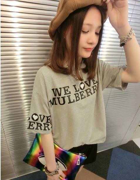 เสื้อแฟชั่น คอกลม แขนสั้น ลาย We Love Mulberry สีเทา