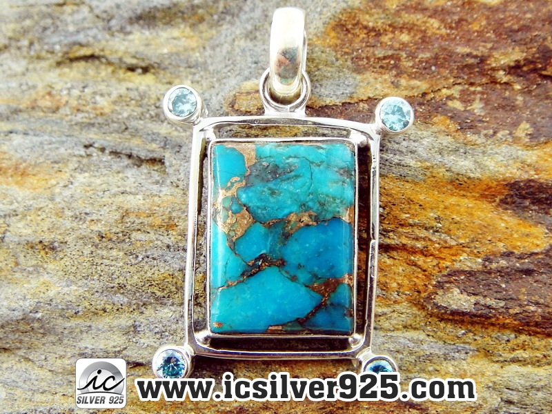 ▽จี้เงินแท้ 925 -Copper Blue Turquoise & Blue Topaz(5.3g)