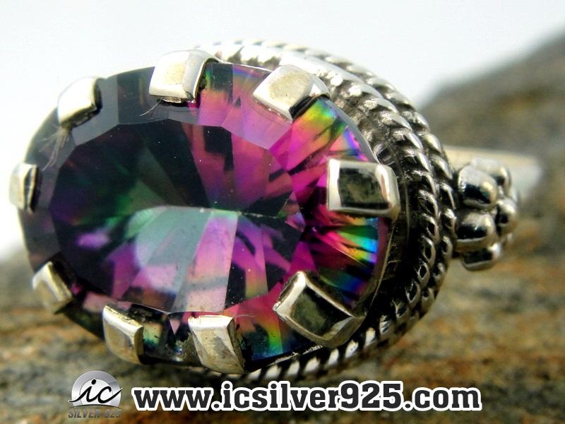 ▽โทพาซสีรุ้ง (Rainbow Topaz) แหวนเงินแท้ 925 (แหวนเบอร์ : 53)