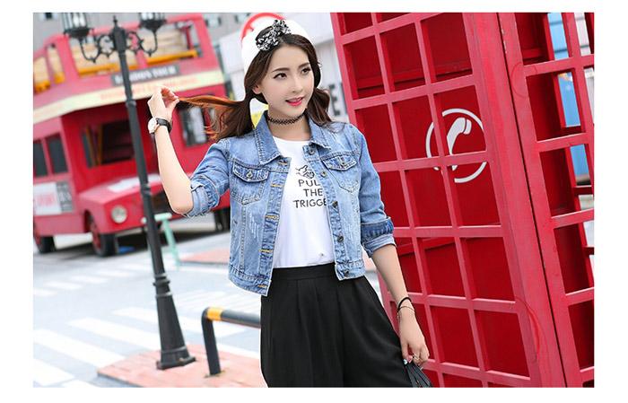 เสื้อยีนส์ผู้หญิง แจ็คเก็ตยีนส์ เสื้อคลุมยีนส์ สีฟ้าตะพุ่น แขนยาว คอปก แฟชั่นเกาหลี