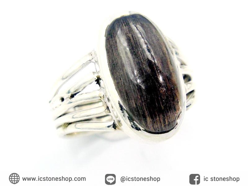 ซันสโตน Black Sunstone - แหวนเงินแท้ 925 (แหวนเบอร์ : 58)