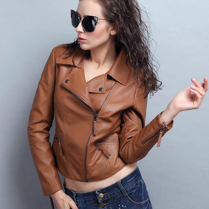 เสื้อแจ็คเก็ตหนังผู้หญิง แฟชั่นเกาหลี สีแดงเลือดหมู แจ็คเก็ตหนัง PU คอปก มีสไตล์ แนวเท่ๆ