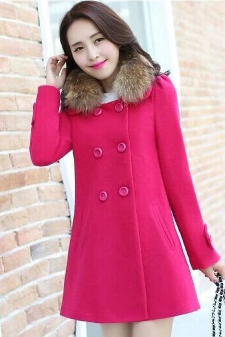 (สินค้าหมด) เสื้อโค้ทกันหนาว สีชมพู ไหล่ยกนิดๆ พร้อมผ้าขนสัตว์แต่งคอเสื้อ
