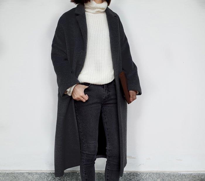 เสื้อโค้ทกันหนาวผู้หญิง สีดำ ยาวคลุมเข่า ผ้าวูลเลิน ใส่เที่ยวรับลมเย็น ต่างประเทศ