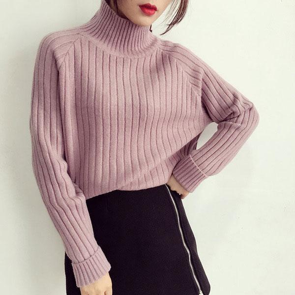 เสื้อกันหนาวไหมพรมผู้หญิง สเวตเตอร์คอเต่า สีม่วงอ่อน นุ่มๆ อุ่นๆ