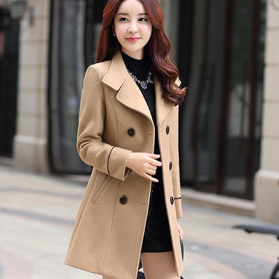 เสื้อโค้ทกันหนาวผู้หญิง สีไวน์แดง คอปก แต่งเว้าสวย ตัวยาวคลุมสะโพก