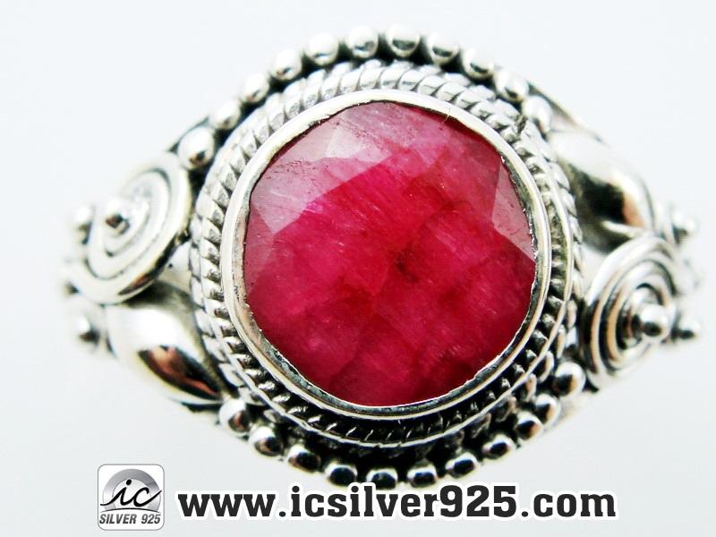 ▽ทับทิม Indian Ruby- แหวนเงินแท้ 925 (แหวนเบอร์ : 58 ,3.5g)