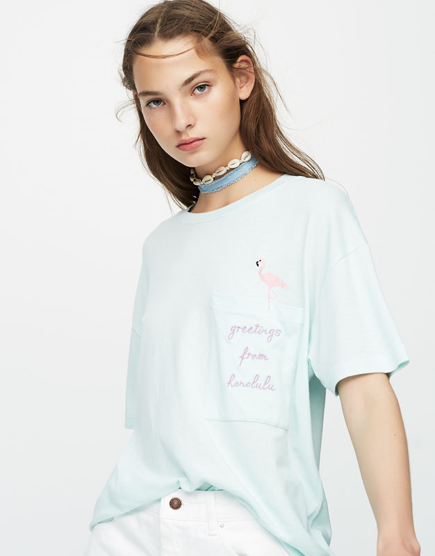 Pull&Bear Embroidered flamingo T-shirt