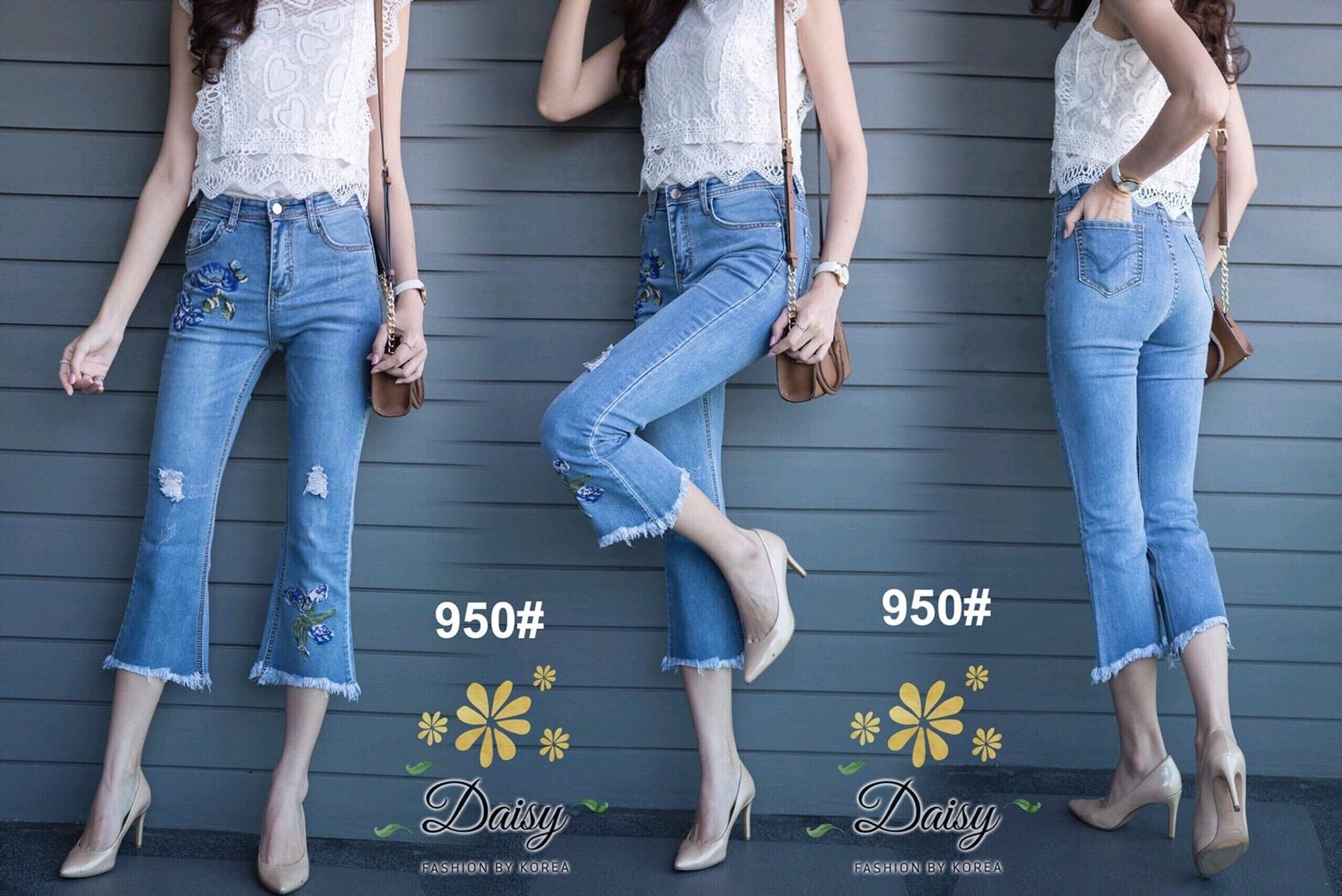 กางเกงยีนส์ทรงเดฟ ผ้ายีนส์ฮ่องกง รุ่นขายาวห้าส่วนผลิตมาไซส์ใหญ่ ให้คนสะโพกใหญ่ที่หายีนส์สวยๆใส่ยากค่ะ