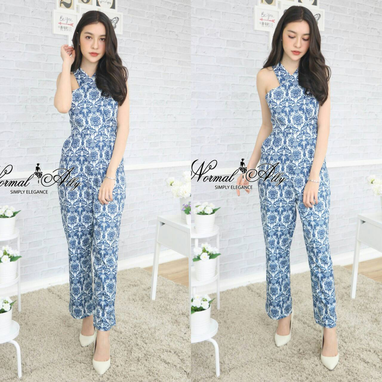Normal Ally Present graphic chic long jumpsuit