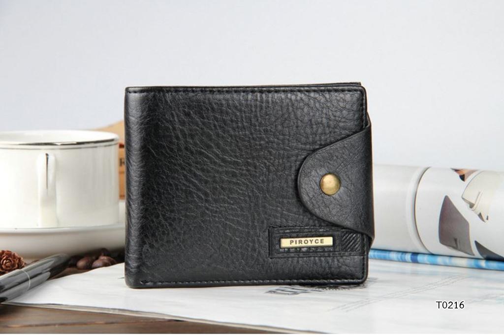 กระเป๋าสตางค์ผู้ชาย หนังแท้ ทรงสั้น Shidai Piroyce - สีดำ