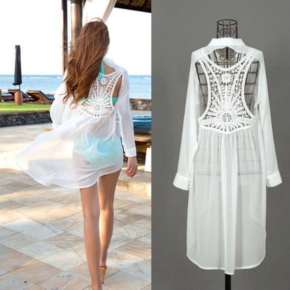 (Pre Order) เสื้อคุมขนาดสินค้า -มีขนาดเดียว วัสดุ: ชีฟอง / ลูกไม้ สี: สีขาว