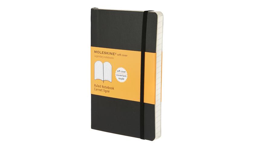 สมุดโน้ต Moleskine Soft Cover มีเส้นบรรทัด ปกอ่อน สีดำ - ขนาด Large