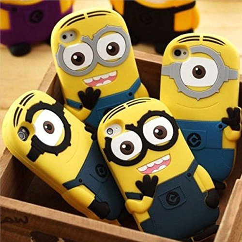 silicon material Despicable Me Yellow Minion Cover for iphone Case for iphone 4 4S P002