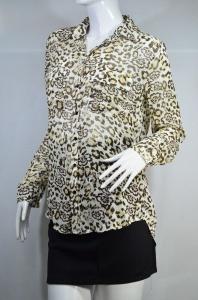 MNG เสื้อเชิ๊ตลายเสือแขนยาวผ้าชีฟอง
