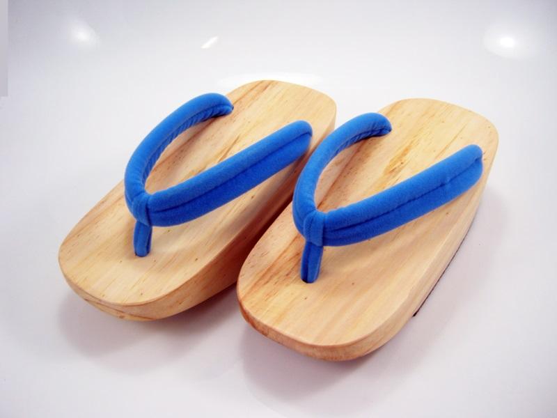 FitGeta-05 รองเท้าเกี๊ยะไม้ธรรมชาติเชือกฟ้า