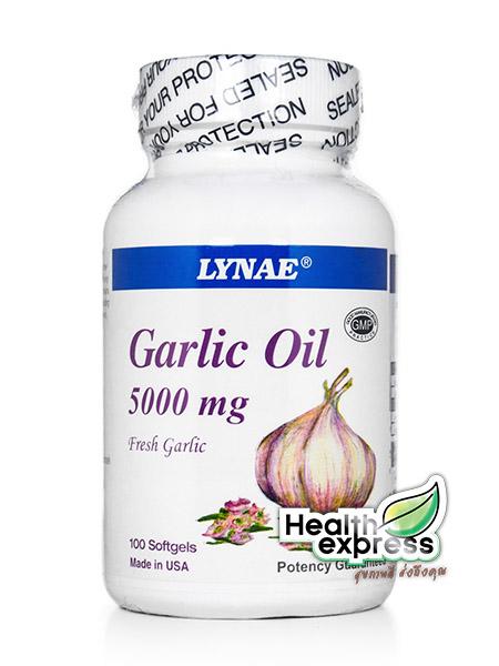 Lynae Garlic Oil 5000 mg. ไลเน่ น้ำมันกระเทียมสกัด บรรจุ 100 แคปซูล