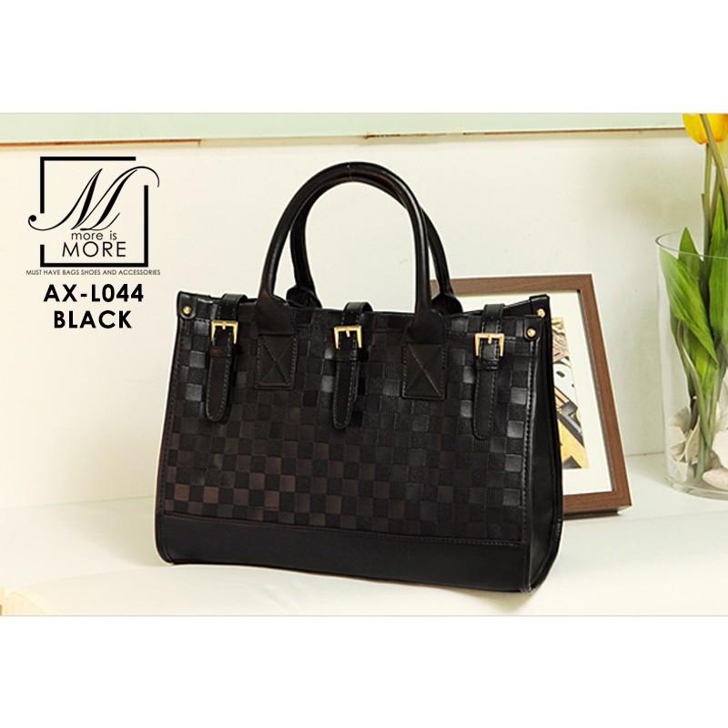 กระเป๋าสะพายกระเป๋าถือ แฟชั่นนำเข้าแพทเทิร์นแบบสานแบรนด์ axixi แท้ AX-L044-BLK (สีดำ)
