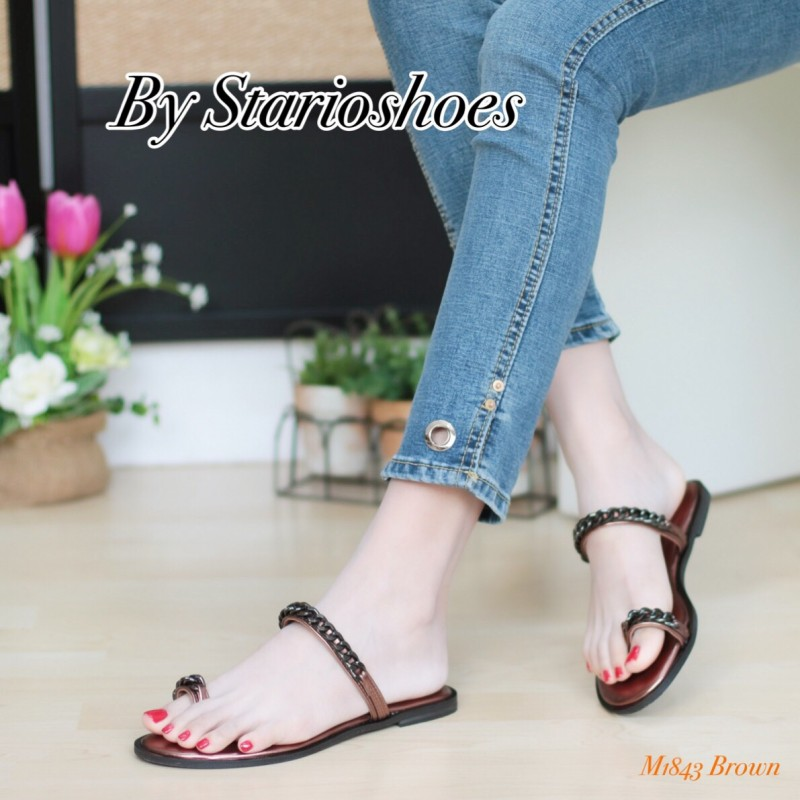 พร้อมส่ง รองเท้าแตะผู้หญิง M1843-BRN [สีน้ำตาล]