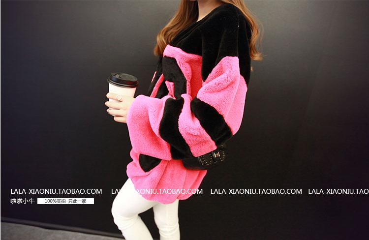เสื้อกันหนาวแฟชั่นเกาหลีราคาถูกสีชมพูขนปุยน่ารักๆ