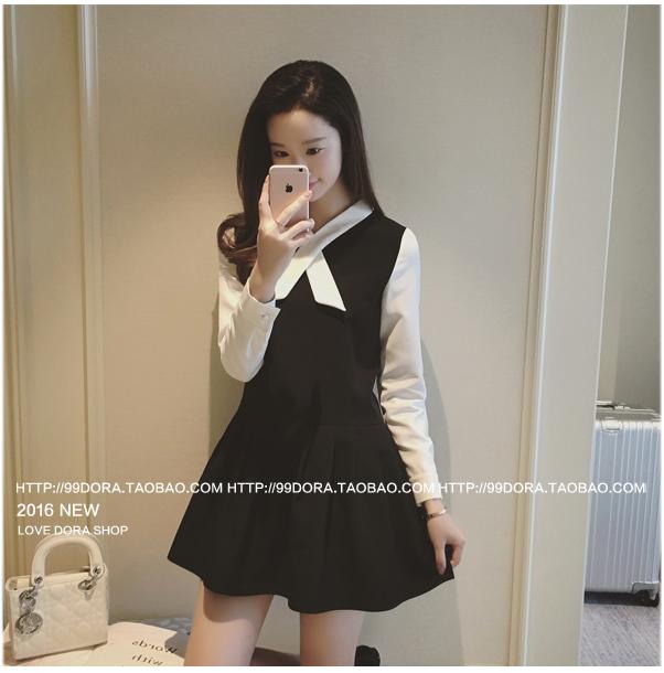 ชุดเดรสแฟชั่นเกาหลีสีดำแขนยาวสีขาว กระโปรงบานเข้ารูปจับจีบ