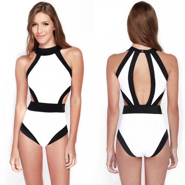 ชุดว่ายน้ำวันพีชหน้าเหลี่ยมหลังเว้าสีขาวดำ