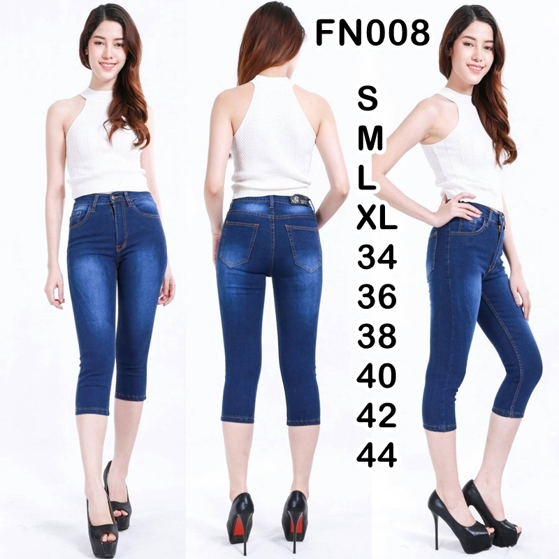 กางเกงยีนส์ขาเดฟเอวสูง 5 ส่วน สีไบโอฟอก ผ้ายืด ทรงสวย มี SIZE S,M,L,XL,34,36 38,40,42,44