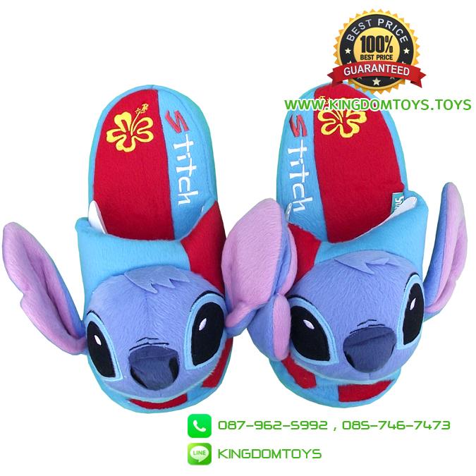 รองเท้าพื้นหนา สติช 3D ลายดอกชบา [Disney]