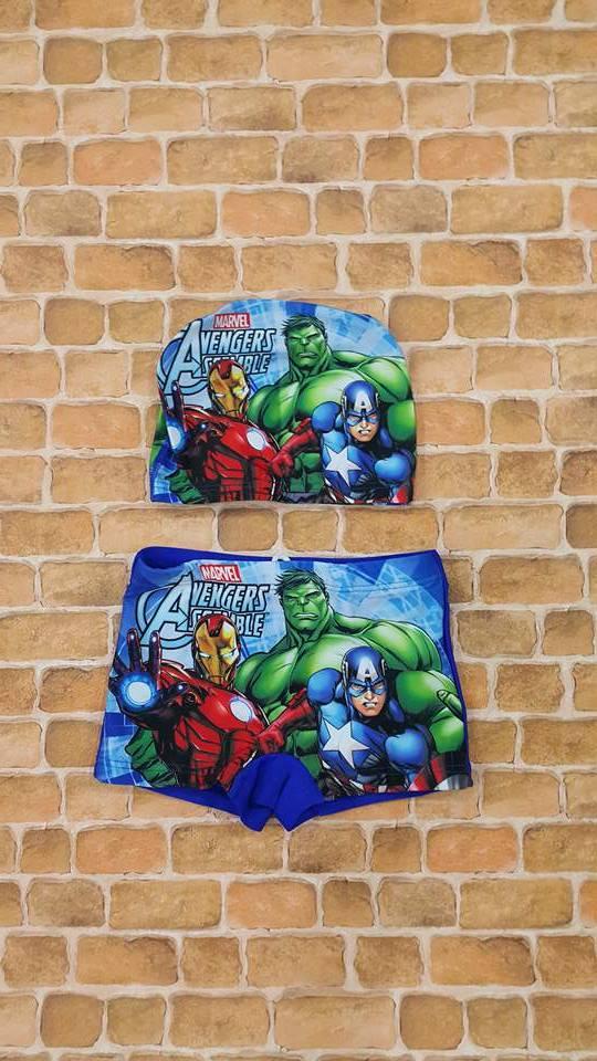 กางเกงว่ายน้ำเด็กชายลาย Avengers พร้อมหมวก (เอวกางเกงมีเชือกผูกปรับได้)