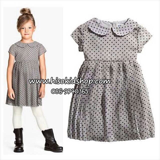 1090 H&M Dot Pleated dress - Grey ขนาด 4-6,6-8 ปี